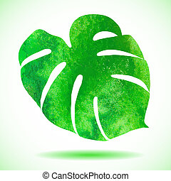 Watercolor leaf of tropical plant -