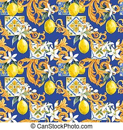 Watercolor lemon seamless vector pattern