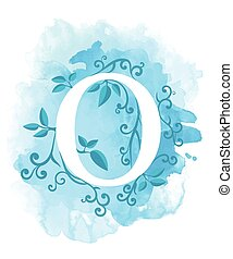 Watercolor Letter Calligraphy On Background Natural Elements Leaves Curls Design An Element For Web