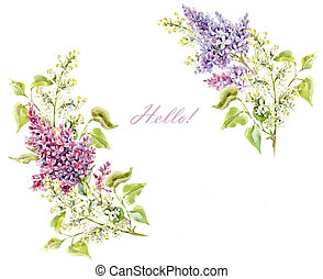 Watercolor lilac floral frame