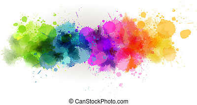Watercolor line background - Background with multicolored...