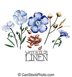 Watercolor linen set. Vector floral design elements isolated...