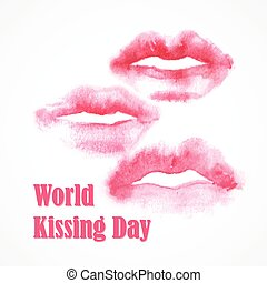 Watercolor lips. World Kissing Day. EPS 10