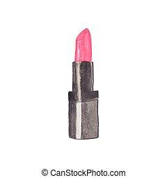 watercolor, lipstick, 有用, illustration., 做, 邀请, , cosmetics...