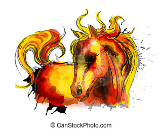 Watercolor little cute horse colorful painting