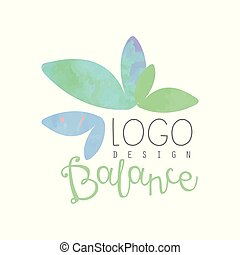 Watercolor logo design with abstract leaves. Herbal balance. Decorative vector element for yoga class or spa salon. Alternative medicine. Wellness concept