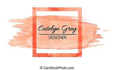 Watercolor logo - Vector illustration of orange logotype for...