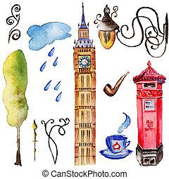 Watercolor London illustration. Great Britain hand drawn symbols. Big Ben.