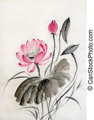 watercolor, lotus bloem, schilderij