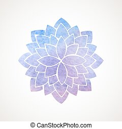 Watercolor lotus flower blue and violet