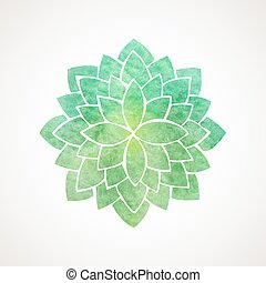 Watercolor lotus flower green color - Watercolor lotus...