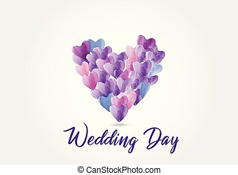 Watercolor love hearts logo