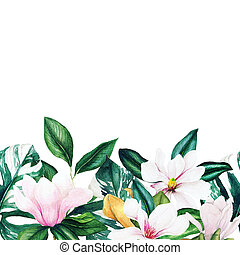 Watercolor magnolia and leaves seamless border, hand drawn