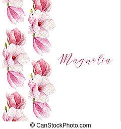 Watercolor magnolia border. Blossom card.
