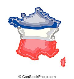 Watercolor map of France with flag