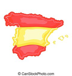 Watercolor map of Spain with flag