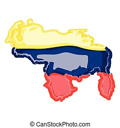 Watercolor map of Venezuela with flag