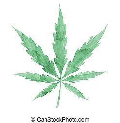 watercolor Marijuana leaf isolated on white background