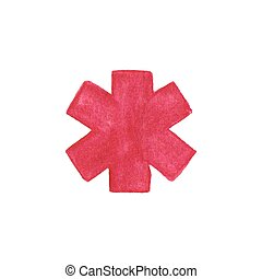 Watercolor medical emergency symbol on the white background, aquarelle pencil.  Vector illustration.