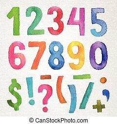 watercolor, met de hand geschreven, getallen, en, symbolen