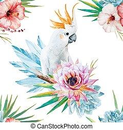 watercolor, model, met, papegaai, en, bloemen
