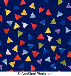Watercolor multicolor triangles pattern. Birthday card in vector.