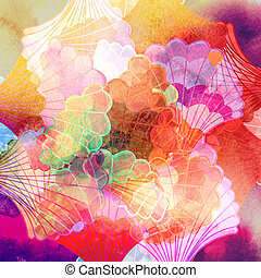 Watercolor multicolored abstract elements - Watercolor ...