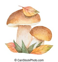 Watercolor mushrooms with autumn leaves