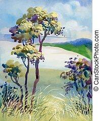 Watercolor natural summer wood landscape.