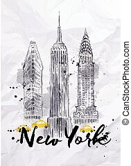 Watercolor New York skyscrapers, Empire State Building, Chrysler Building in vintage style drawing with drops and splashes on crumpled paper