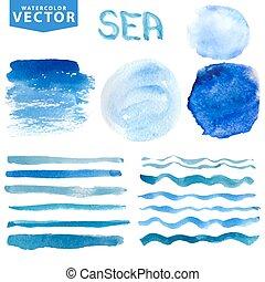 watercolor, oceaan, set, vlekken