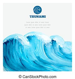 Watercolor ocean tsunami waves. Big blue water.