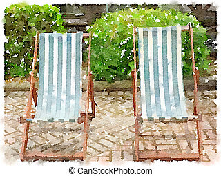 Watercolor of green and white stripy deck chairs