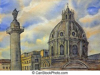 Watercolor of the Trajan's Column (Colonna Traiana) in Rome,...