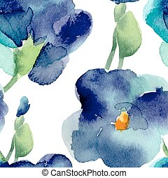 Watercolor of violet flowers seamless pattern.