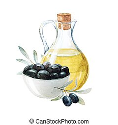 Watercolor olives and olive oil