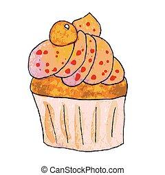 Watercolor orange cupcake