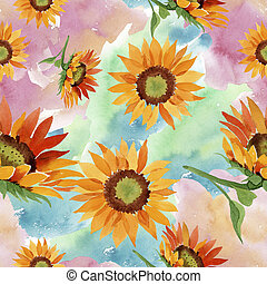 Watercolor orange sunflower flower. Floral botanical flower. Seamless background pattern.