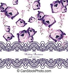 watercolor, ouderwetse , bloemen, rozen