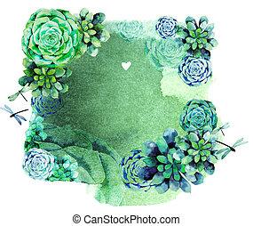 watercolor, ouderwetse , ontwerp, succulents