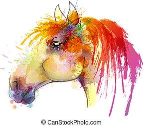 watercolor, paarde, schilderij, hoofd