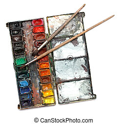 watercolor paint box with messy bru