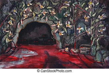 Watercolor paint. Boy in a bloody cave