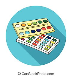 Watercolor paint icon in flat style isolated on white background. Artist and drawing symbol stock vector illustration.