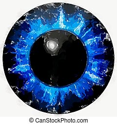 Watercolor paint. Illustration of blue eye iris, light reflection.