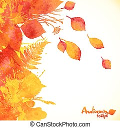 Watercolor painted autumn leaves vector background