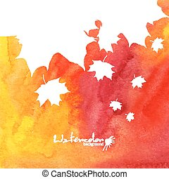 Watercolor painted background with white maple leaves silhouettes