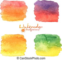 Watercolor painted banners vector set