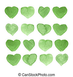 Watercolor painted green heart, element for your design