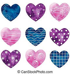 Watercolor painted hearts